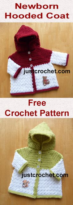 Free newborn baby crochet pattern for hooded coat. #babycrochet