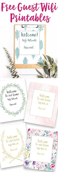 Free guest wifi printable- welcome your guests with these pretty printables that share your wifi network and code!