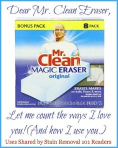 Loads of uses and ideas for how to use a Mr. Clean Eraser for cleaning all types of things in your home {on Stain Removal 101}