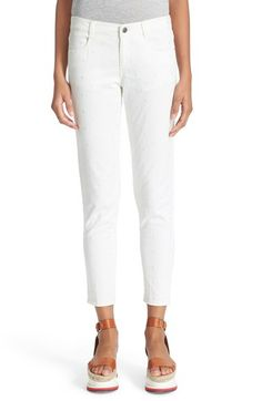 Stella McCartney 'The Skinny' Embroidered Ankle Grazer Jeans (White)