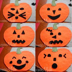 Felt pumpkin faces. Cut out lots of face options and let the kids decorate and redecorate