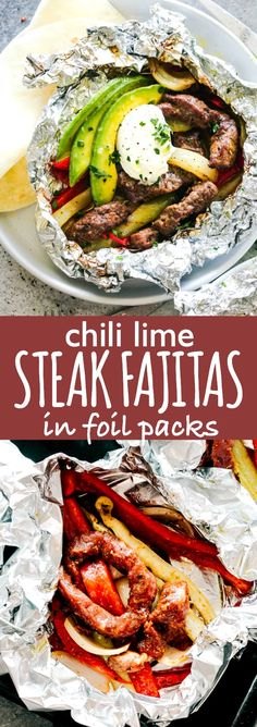 Chili Lime Steak Fajitas in Foil Packs - Tender, flavorful, and very easy to make Chili Lime Steak Fajitas prepared in foil packs! This no fuss, fresh, and seriously delicious steak fajitas recipe is sure to be a major hit! via - Recipes - Fajita Grilling Recipes, Beef Recipes, Cooking Recipes, Healthy Recipes, Grill Meals, Grilling Ideas, Freezer Cooking, Healthy Options, Healthy Nutrition
