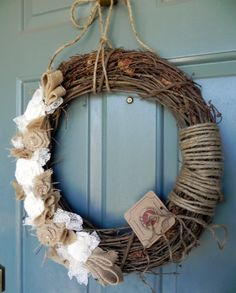 Burlap Grapevine Wreath  Burlap Roses Pearls and by RedRobynLane, $46.00