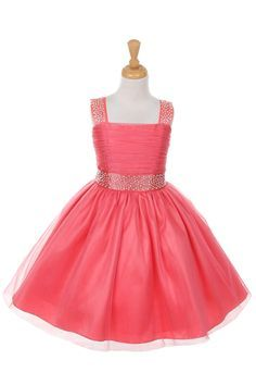 fbd2f953f8a Coral Bling Bling Shiny Studded with Rhinestone Tulle Flower Girl Dress