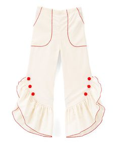 Another great find on #zulily! Ivory & Red Ruffle Pants - Infant, Toddler & Girls #zulilyfinds