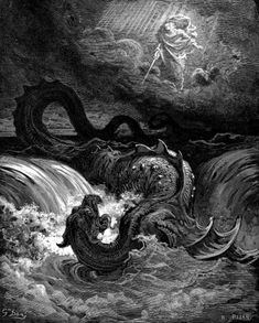 the Hebrew Bible alludes constantly to a sea monster called Leviathan, who has been slain by Yahweh, almost in terms reminiscent to the struggle between Marduk and Tiamat in Enûma Eliš.