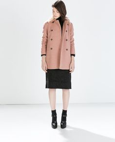 Image 1 de MANTEAU DOUBLE RANGÉE DE BOUTONS COL FOURRURE de Zara