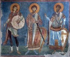 1164 - Three warriors in Byzantine armour on a fresco in St Pantaleimon Church in Nerezi, Bulgaria, said to be constructed in Alexius Angelus Comnenus, a son of Constantine Angelos and Theodora Komnene, a daughter of Byzantine Emperor Alexios I Komnenos.