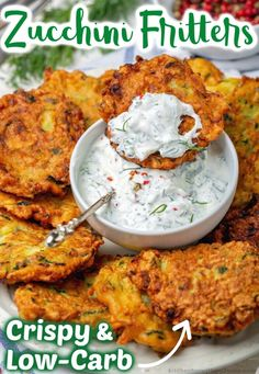 This delicious zucchini fritters recipe is unbelievably easy to make, low carb, and they are the perfect way to sneak in some extra veggies! Perfect as a side dish, light lunch or simple snack, these crispy fritters are a great way to use up leftover zucchini. Zucchini Side Dishes, Easy Zucchini Recipes, Veggie Dishes, Veggie Recipes, Vegetarian Recipes, Cooking Recipes, Keto Recipes, Veggie Fritters, Zucchini Fritters