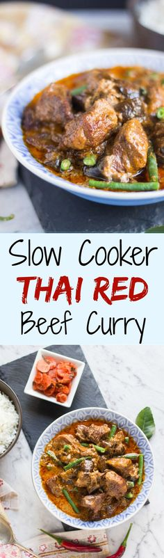This Slow Cooker Thai Red Beef Curry makes a great change from your usual slow cooker meals. It freezes well so make double and stock up the freezer.