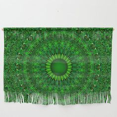 Green Garden Mandala Wall Hanging by David Zydd Wall Tapestries, Wall Hangings, Wall Design, House Design, Bedroom Decor, Wall Decor, Tapestry Design, Wall Art For Sale, Mandala Coloring