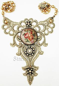 Michal Negrin Victorian Style Gold Tone Lace Cameo Necklace #MichalNegrin #Cameo