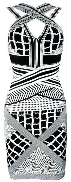 'Naya' geometric cross strap bodycon dress