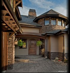 Cultured Stone Black Rundle Pro-Fit Alpine Ledgestone exterior entrance garage