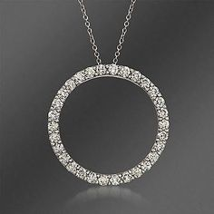 """Ross-Simons - Roberto Coin 1.33 ct. t.w. Diamond """"Circle of Life"""" Necklace in 18kt White Gold. 16"""" - #182490"""