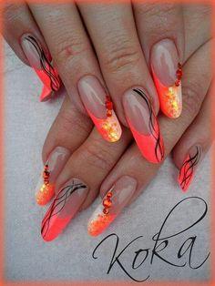 Bright hot orange fun #round #neon #bling #nail design by koka
