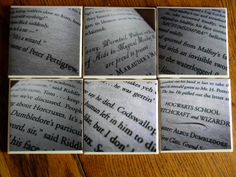 Harry Potter  Book Pages Wall Art or Ceramic Tile Coaster Set of 6 by GrandmaJoesBrain on Etsy https://www.etsy.com/ca/listing/98677551/harry-potter-book-pages-wall-art-or