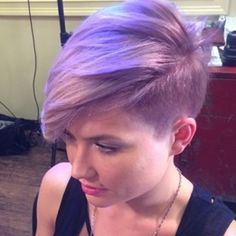 Lilac. Short hair. Color is great with her makeup and complexion.