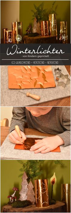 Tingling with children - a winter light - Wintry craft idea. Tingling with children. A wintry tingle with glossy film. Christmas Crafts For Kids, Winter Christmas, Christmas Time, Xmas, Light Crafts, Winter Art, Decoration, Handicraft, Montessori