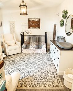 Joanie's nursery has been 10 months in the making, but it's finally complete! When you move when your baby is 4 weeks old, I guess that's… Baby Bedroom, Baby Boy Rooms, Baby Room Decor, Baby Boy Nurseries, Rustic Girl Nurseries, Girl Rooms, Baby Cribs, Girl Nursery, Nursery Room