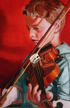 Boy on a violin - Children's Portraits Musical Instruments, Violin, Portraits, Paintings, Boys, Music Instruments, Baby Boys, Paint, Head Shots