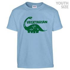 YOUTH / KIDS Vegetarian Dinosaur T Shirt by Shirtmandude on Etsy