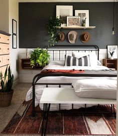 Are you itching for change? It's time to wake up your inner modern bohème! Take master bedroom redesign as creative… Home Decor Bedroom, Modern Bedroom, Tiny Master Bedroom, Dark Bedrooms, Bedroom Ideas, Cuisines Design, My New Room, Home Remodeling, Interior Design