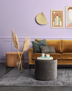 A young and modern take on lilac - this lilac backdrop works perfectly with the burnt mustard sofa sold via Sofa Company dk. Lilac Room, Lilac Walls, Lavender Walls, Lilac Living Rooms, Living Room Sofa, Living Room Furniture, Dining Rooms, Interior Design, Decorating Rooms