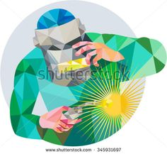 Low Polygon style illustration of welder worker with mask holding welding torch welding viewed from front set inside circle on isolated background.  - stock vector #welder #lowpolygon #illustration