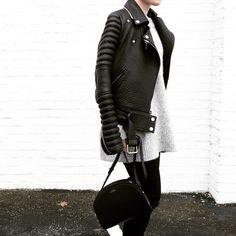 OVRSLO in The Arrivals NYC jacket & APC Paris bag. #minimal #ovrslo #apcparis
