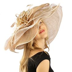 Spectacular Floral Layered Sinamay Derby Floppy Wide Brim Dressy Hat White