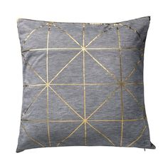 geometric gold and gray pillow