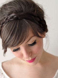 Superficial snack: fascinator-friendly hairstyle with double braids | Offbeat Bride