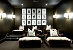 Home Theater: Chaises instead of chairs! Perfection!