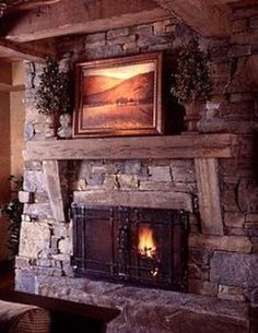 8 Jaw-Dropping Useful Ideas: Fireplace Romantic Interiors stone fireplace.Fireplace Makeover With Tv open fireplace candles.Shiplap Fireplace With Hearth. Stone Fireplace Pictures, Stacked Stone Fireplaces, Rustic Fireplaces, Farmhouse Fireplace, Home Fireplace, Living Room With Fireplace, Fireplace Design, Rustic Farmhouse, Farmhouse Style