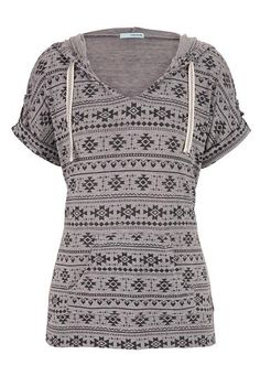 knit ethnic print sh