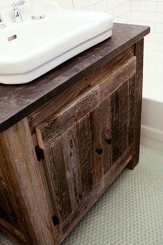 Rustic Bathroom Vanities heritage collection - barn wood vanity with copper sinks | home