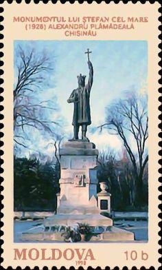 Ştefan cel Mare Monument (1928). Sculptor - Alexandru Plămădeală. Chişinău Interesting Buildings, Moldova, Bucharest, Ms Gs, Bulgaria, Monuments, Postage Stamps, Romania, Statues