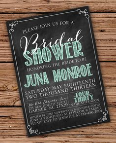 Chalkboard Bridal Shower Invitation by OliveJuiceStationery