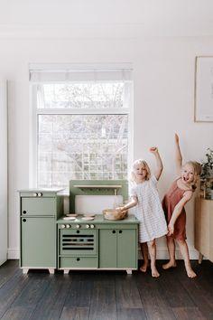 Wooden Play Kitchen, Kids Play Kitchen, Little Kitchen, Plywood Furniture, Kids Furniture, Green Plywood, Kitchen Prices, Mahogany Color, Kitchen Colors