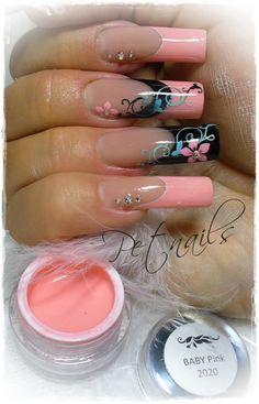 Beautiful pipe nails with pink and black nail art Peach Nails, Pink Nails, Hot Nails, Hair And Nails, Acrylic Nail Designs, Nail Art Designs, Uñas One Stroke, Airbrush Nail Art, Fingernails Painted