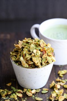 This Matcha Granola has clusters of oats, coconut flakes, almonds, and pepitas tossed with earthy matcha powder. gluten free and vegan granola