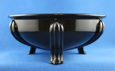 Vintage Black Amethyst Glass bowl with Art Deco styling, 1920-30s.