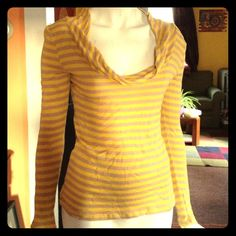 """Selling this """"Yellow & taupe striped, long sleeve shirt"""" in my Poshmark closet! My username is: rxdaughtet. #shopmycloset #poshmark #fashion #shopping #style #forsale #Old Navy #Tops"""