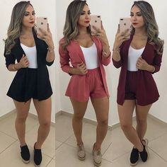 SUMMER FASHION FRESH AND COOL The contemporary fashion brand spotlights relaxed end-of-summer styles. From loose-fitting blouses to paper-bag waist pants Outfits For Teens, Trendy Outfits, Summer Outfits, Cute Outfits, Fashion Outfits, Womens Fashion, Teen Shorts, Blazer And Shorts, Look Con Short