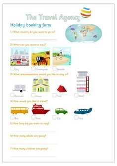 Early Years Role-Play - Holiday Booking Form.