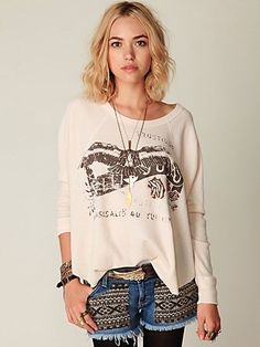 Free People Graphic Love Bug Thermal at Free People Clothing Boutique - StyleSays
