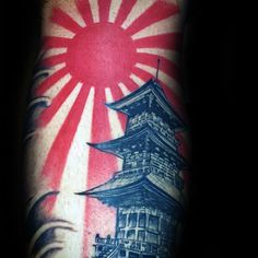 Rising Sun With Temple Mens Japanese Inner Forearm Tattoos