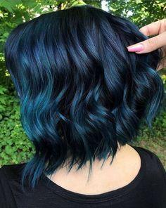 Hair Color Ideas Perfect Ideas Of Blue Hair Colors for Short Hair in Year 2019 Wedding Faq: Answers Peach Hair Colors, Hair Color Blue, Hair Dye Colors, Cool Hair Color, Edgy Hair Colors, Blue Colors, Hidden Hair Color, Indigo Hair Color, Blue Tips Hair