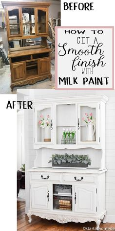 How to get a smooth finish with milk paint - interior design Refurbished Furniture, Repurposed Furniture, Furniture Makeover, Cool Furniture, Furniture Design, Luxury Furniture, Antique Furniture, Milk Paint Furniture, Hutch Makeover